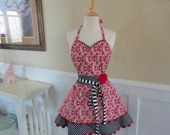Cranberry Swirl ~LAST ONE ~ Sadie Style Women's Apron ~ 4RetroSisters