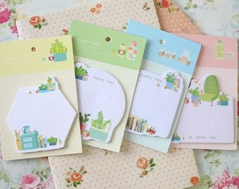 The Beautiful Things cartoon home & succulents sticky notes