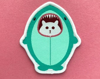Cat Patch - Iron on Cat Patch - Shark Cat - Sew on Patch - Embroidered Patch - Woven Cloth Patch - Fat Kitty - Large Cat Patch