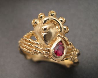 14K Gold Skeletal Claddagh Ring with Ruby