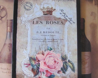 Romantic French Decor, French Provincial, Crown, Paris Decor Sign, Pink Roses Paris Bedroom Decor, Shabby Cottage Chic, Victorian