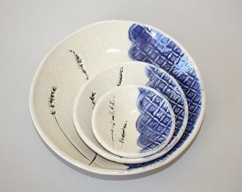 Ceramic Serving Bowl, Ceramic Bowl, Rustic Pottery, Ceramic Fruit Bowl, Blue Nesting Bowl set of 3 with lavender imprint