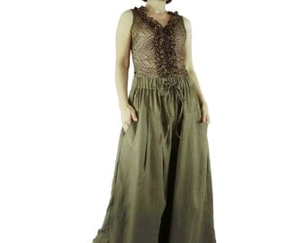 Chic Elegant Olive Color Fine Quality Linen Super Wide Legs Casual Funky Boho Bell Bottom Pleated Pants With 2 Pockets