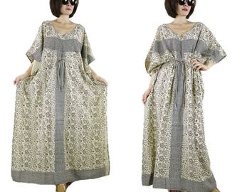 Short Sleeve Oversize V Neck Black Graphic Printed Creamy Beige Light Cotton Drawstring Waist Maxi Dress Kaftan Women Sun Dress