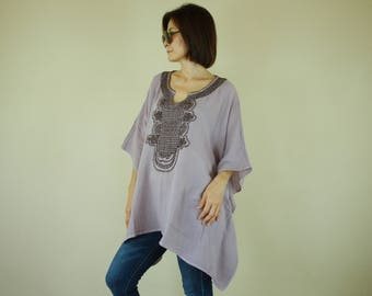 Oversize Pale Thistle Double Gauze Cotton Dolman Poncho Women Top Caftan Blouse With Dark Brown Hand Embroidered Detail