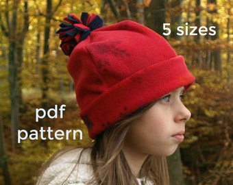Winter Hat Pattern (S123), Beanie Hat pattern, Childrens fleece hat pattern, Winter Beanie pattern - Boys, Girls, Baby, 0 to 10 years