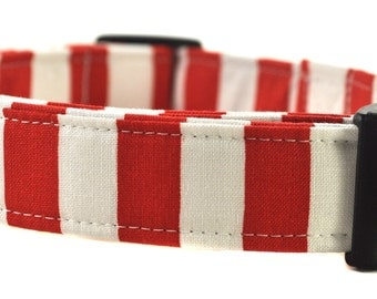The Red and White Stripe Dog Collar