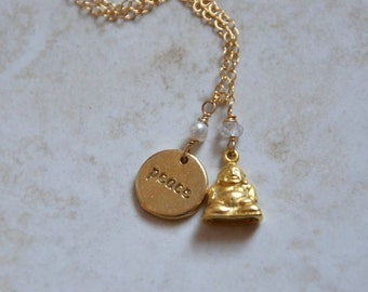 Peace Buddha Charm Necklace Gold Filled with Pearl