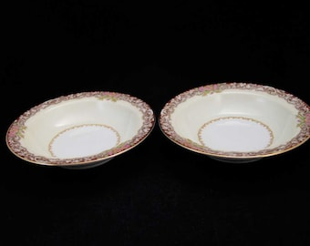 Vintage Noritake Occupied Japan Harmony Red Fruit/Dessert Bowls (2)