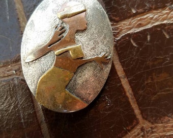 Woman dancing sterling silver copper brass pendant/pin/necklace.