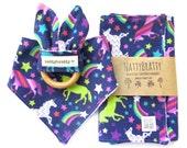 Modern Baby Bib - Burp Cloth - Teething Ring - Gift Set or Individual Sale - Unicorns and Rainbows - Baby Girl Gift - Baby Shower Gift