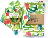 Cactus Baby Bib - Bandana Bib - Burp Cloth - Teething Ring - Gift Set or Individual Sale - Southwest Style Baby Gift - Succulents Saguaro