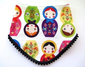Pom Pom Bib - Bibdana - Bandana Style Drool Bib - Baby Girl Gift - Boho Style - Boho Baby - Russian Nesting Dolls - Novelty Baby Gift