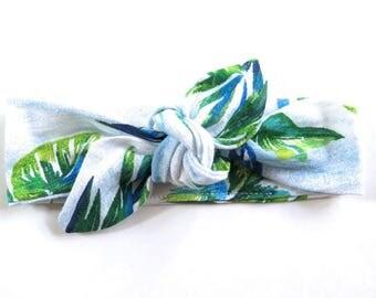 Palm Frond Baby Headband - Top Knot Headband - Stretch Headband - Modern Style - Boho Baby - Tropical Plant Island Style - Summer Beach