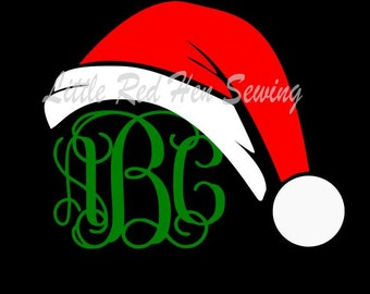 Santa Hat Monogram Topper SVG File for cutting machines, Great for Shirts, ornaments, cups, heat press or adhesive vinyl, cricut and plotter