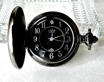 Pocket Watch Quartz Art Nouveau Black Silver Filigree Gothic Numerals Diamond Date Handmade Chain Vintage Wedding Groom Father Best Man