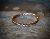 Single Stacking Ring, Rose Gold Twised Rope Stacking Ring, Gold-filled Stacking Ring, Simple Ring, Midi Ring, Minimalist Ring, Stacker Ring