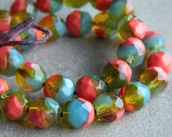 Czech Glass Beads, Fire Polished beads, Faceted Round beads, Marbled Sunny Topaz, Persimmon and Blue Opal, 8mm beads  (25pcs)