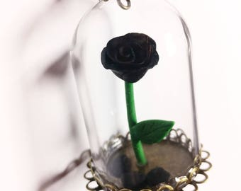 Black enchanted rose necklace. Cloche glass. Beaty and the beast inspired.