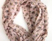 Floral Infinity Scarf - Pink Vintage Rose Loop Scarves - Modern Fashion Scarf - Handcrafted
