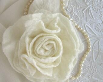 White Flower Pin - White Rose Brooch - Brides Scarf Pin