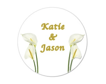 "Wedding Calla Lillies 2"" round stickers -- 20 stickers - FREE PERSONALIZATION - stickers, baby shower favor  (ST50407)"
