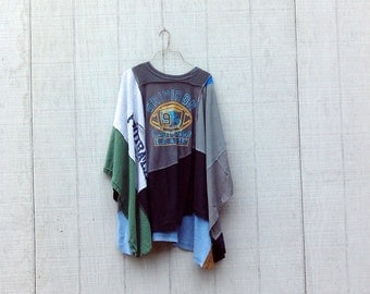 Upcycled | Football | Funky Clothing | Poncho | Recycled Clothing | Patchwork| Ladies Clothing | Sweatshirt by CreoleSha