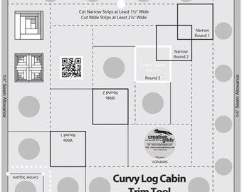 "Curvy Log Cabin Trim Tool 8"" Inch - Creative Grids Quilting Tool - CGRJAW5 - Non-Slip Ruler"