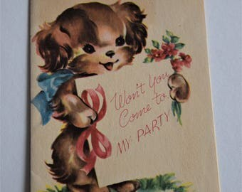 Vintage BIRTHDAY PARTY INVITATION Card Invite Puppy Dog Graphic 1950s Children Child Forget Me Not Greeting Juvenile Kids Cocker Spaniel