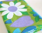Vintage Sheet Fabric vintage reclaimed bed sheet linen fabric retro purple green folk art daisy heart floral quilting camper decor fabric