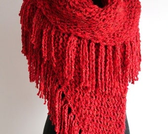 Large Size Dark Red Color Knitted Chunky Acrylic Tweed Yarn Large Shawl Wrap Stole with Fringes Tassels
