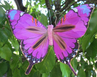 FUCHSIA Feathers  Butterfly Hair Clip  - Weddings - 5 X 3.5 inches