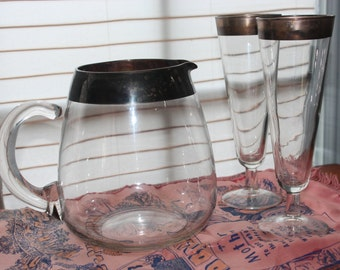Silver Rim Pitcher & Pilsner Glasses - Dorothy Thorpe Mid Century Modern Barware