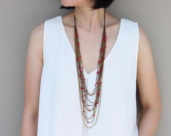 Layered Strand Necklaces Coral Woven Beaded Stone