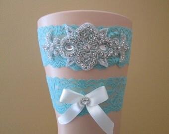 Aqua Blue Wedding Garter Set, Teal Bridal Garter, Something Blue, Crystal -Rhinestone Garters, Vintage- Rustic- Country Bride, Prom Garter