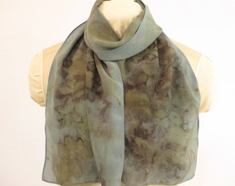 "Silk Scarf - Natural Dye - Eco Gift for Her - Indigo Blue-Gray Taupe Brown - CDC11161218- 11""x56"" (27 x 142cm)"