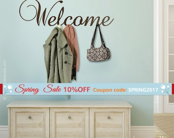 Welcome Vinyl Lettering Wall Decal, Welcome Home Entrance Wall Decor, Welcome Sign Lettering, Welcome Wall Sticker for Home Office Decor