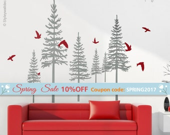 Pine Trees Wall Decal, Winter Trees Wall Decal, Forest Trees Wall Decal, Wall Sticker, Trees and Birds Wall Decal Living Room Decor