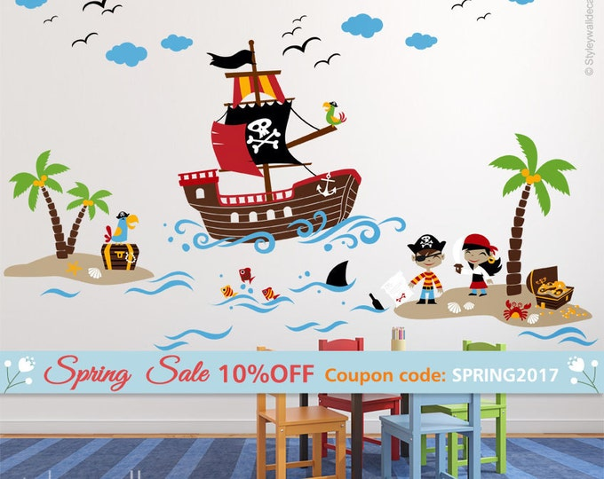 Pirates Wall Decal, Treasure Island Wall Decal, Playroom Wall Decals, Pirates Wall Sticker, Nursery Baby Room Decor, Pirate Ship Wall Decal