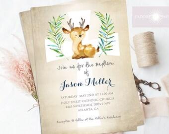 Baptism Invite, LDS Baptism Invitation, Christening, Dedication, Baptism Invite Printable, Deer, Cross, Digital File, DIY, jadorepaperie