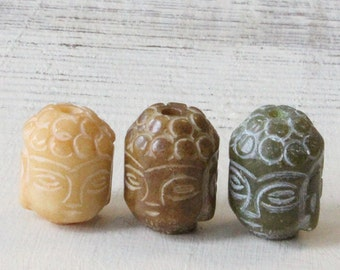Carved Stone Jade Buddha Beads - Jewelry Making Supply - Carved Stone Buddha Beads - 1 bead