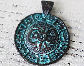 Mykonos Pendant - Green Patina Zodiac Pendant - Beads For Jewelry Making Supply - Horoscope Jewelry Findings And Parts - Choose Amount