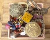 Boho Inspired Destash Lot. Large Earrings, Stone, Filigree, Rhinestone, Purple, Yellow, Natural, Earth, Vintage Jewelry Finding, D87