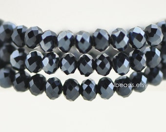 95pcs Glass Crystal Faceted Rondelle Beads 4x6mm Opaque Black Sparkle- (BZ06-139)