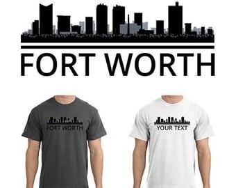 Fort Worth Skyline T-Shirt - Men Women Youth Long Sleeve Personalized Custom Tee - TX Texas Cityscape