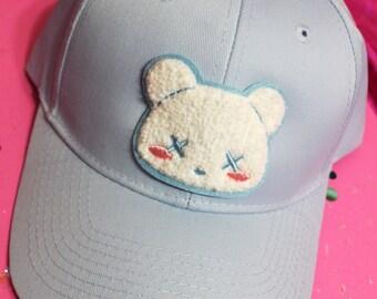Kawaii Pastel Goth Deaddy Bear Chenille Patch Baseball Hat - Strapback Custom Hat Colors