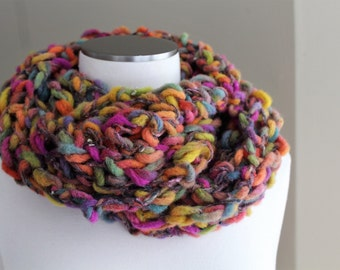 Hand Knit Chunky Wool Infinity Scarf in Jewel Tones Orange, Blue, Green, Gold,  Chunky Knit Long Cowl, Chunky Knit Loop Scarf, Ready to Ship