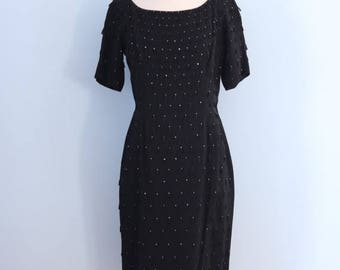 SALE 1960s black cocktail dress / 60s little black dress / Milgrim dress