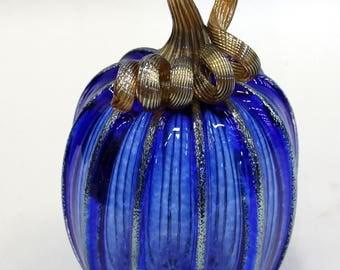 Hand Blown Glass Art Sculpture  Pumpkin Gourd Oneil 7611 Blue