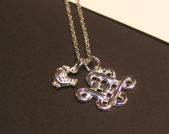 Silver Celtic Knot with Birth Animal Sterling Silver Necklace